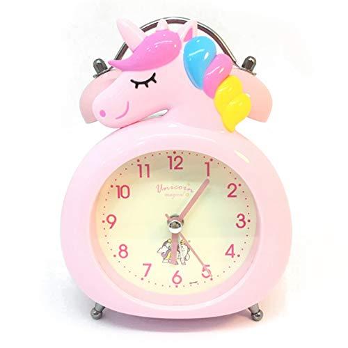 Reloj Despertador de Unicornio, Reloj Silencioso con luz Nocturna, Reloj Despertador para Niños, Reloj de Mesa de Escritorio para Niños, Reloj Despertador de Noche Sin Tictac para Niñas, Rosa