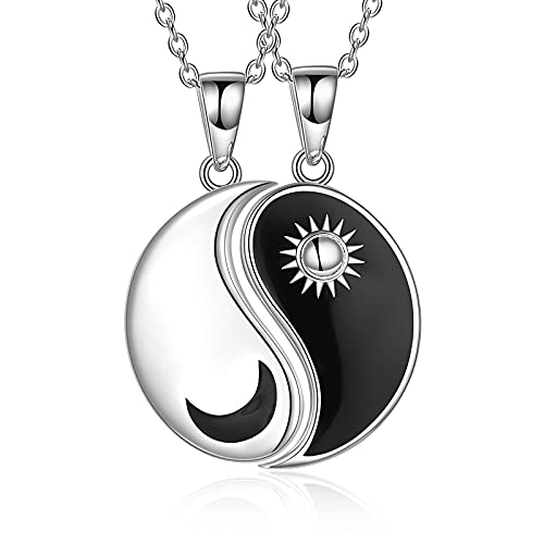 925 Sterling Silver Yin Yang Necklace Moon Star Couple Jewelry Gifts for Women