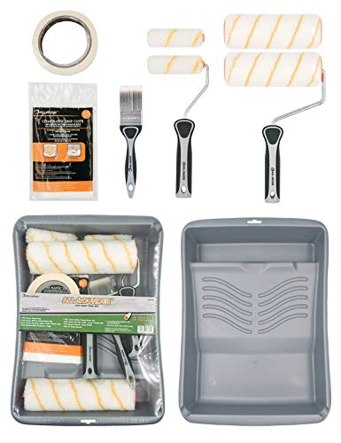 Rollingdog 10PC Paint Roller Tray Set Includes 9 Inch Paint Roller,Paint Tray,Mini Paint Rollers,Roller Cover Refills,Paint Brush,Drop Cloth,Painter's Tape,Ideal for Walls and Ceilings Decorating
