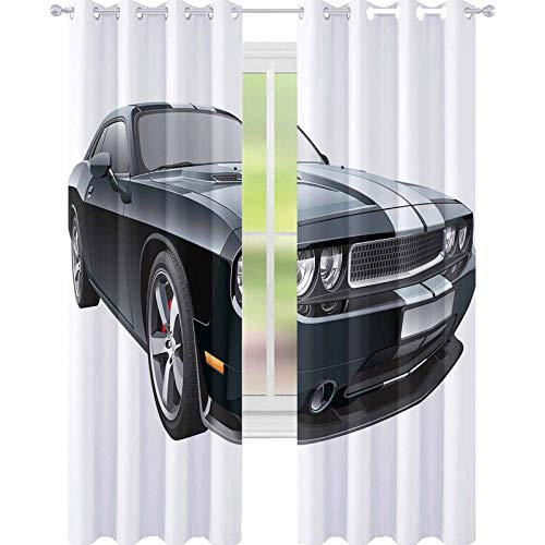 """YUAZHOQI Cars Thermal Insulating Blackout Curtain Black Modern Pony Car with White Racing Stripes Coupe Motorized Sport Dragster Decorative Curtains for Living Room 52"""" x 84"""" Black Grey White"""