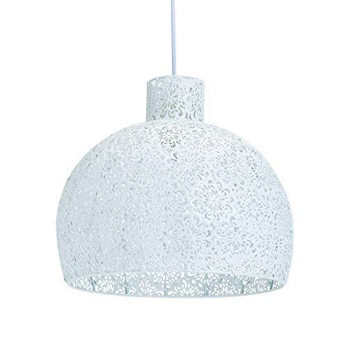 LUSSIOL Luminaire Athena, suspension métal, 40 W, blanc, ø 28 x H 28 cm