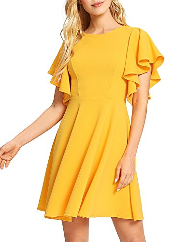 Romwe Women's Stretchy A Line Swing Flared Skater Cocktail Party Dress Yellow S