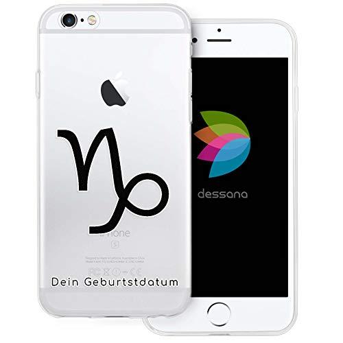 dessana sterrenbeeld met datum transparante silicone TPU beschermhoes 0,7 mm dunne mobiele telefoon soft case cover tas voor Apple, Apple iPhone 6/6S Plus, Steenbok verjaardag