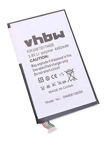 vhbw Batterie 4450mAh (3.8V) pour Tablette Pad Netbook Samsung Galaxy Tab 4, 4 8.0 LTE 3G Millet SM-T331 -T335 -T337V comme EB-BT330FBE T4450C T4450E