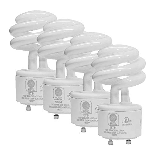 SleekLighting - 13Watt GU24 Base 2 prong light bulbs- UL approved-120v 60Hz - Mini Twist Lock Spiral -Self Ballasted CFL Two Pin Fluorescent Bulbs- 4200K 900lm Cool White 4pack (60Watt Equivalent)