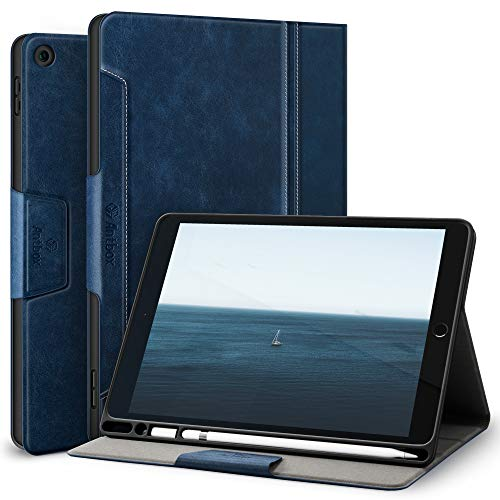 Antbox iPad 8th/7th Generation Case iPad 10.2'' Case 2020/2019 with Built-in Apple Pencil Holder Auto Sleep/Wake Function PU Leather Smart Cover for iPad 10.2 Inch (Blue)