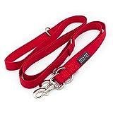 KURI PAI® Hundeleine Für große kräftige Hunde, Rot, Mehrfach Verstellbar, 3m Leine (1.5m - 2.8m) Doppelleine (2.0cm breit), Für Zwei Hunde, Umweltfreundlich Aus Bambus