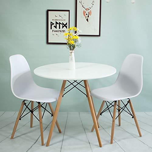 Juego de Mesa y Mesa de Comedor Redonda, Mesa de Comedor Redonda, Mesa Redonda para Oficina, Sala de reuniones y Oficina con sillas, Color Blanco