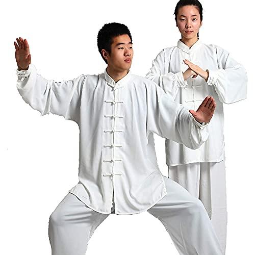 BFGDS Tai Chi Kung-Fu Anzug Baumwolle Plus Seide Tai Chi Kleidung Morgen Sportkleidung Kampfkunst Kleidung Chinesisch Traditioneller Tang Anzug Hemden Hosen Taekwondo Training Uniform White-XXX Large