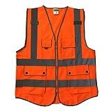 SDENSHI Bandes Réfléchissantes De Gilet De Sécurité Pour Le Fonctionnement De L'industrie De La Construction - Orange, L