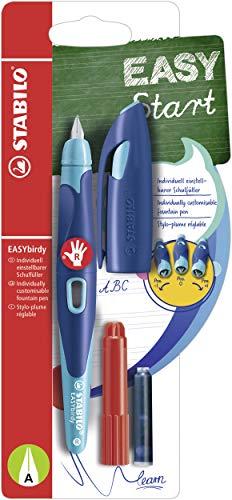 Ergonomischer Schulfüller für Rechtshänder mit Anfänger-Feder A - STABILO EASYbirdy in mitternachtsblau/azur - Einzelstift - inklusive Patrone und Einstellwerkzeug - Schreibfarbe blau (löschbar)