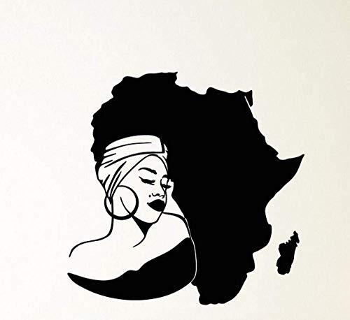 Calcomanía De Vinilo Para Pared, Mapa Del Continente De África, Pegatinas De Turbante De Niña Africana-58X57Cm