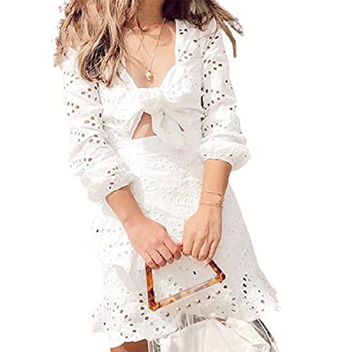 piękny Kobiet fajna letnia sukienka - biała pusta siatka bawełniana haftowana smukła sukienka montażowa, przypadkowa i wygodna sukienka, modna i prosta sukienka letnia (rozmiar: X-duży, kolor: A)