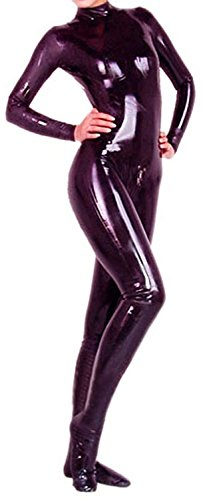 VsvoLatex Black Latex Catsuit Unitard with Feet Back Zipper (Large, Black)