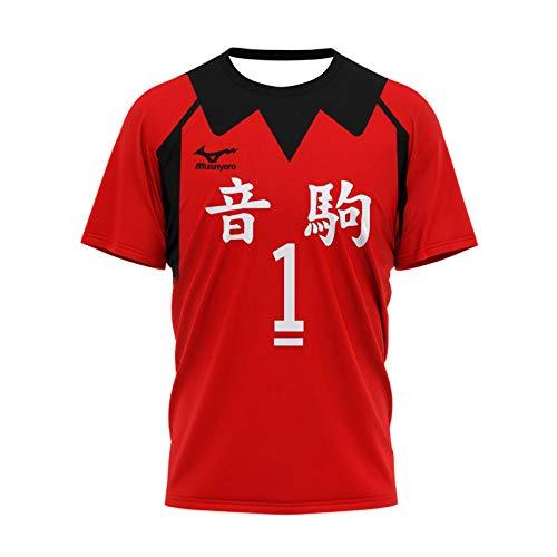 cyxb Cuello Redondo Animados T-Shirt,Adolescente de Voleibol rústico-HZ089_Medio