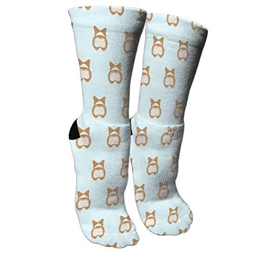 ULQUIEOR Women's Cute Corgi Butts Cotton Cushion Moisture Wicking Athletic Crew Socks