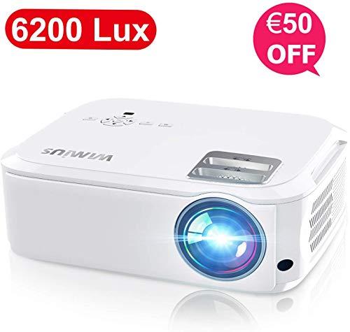 Videoproiettore,WiMiUS 6200 Lumen Nativa 1080P LED Proiettore Full HD Con 300'' Display Supporto 4K Per presentazione Computer PPT, Smartphone, PC,PS4,Tvbox,Laptop
