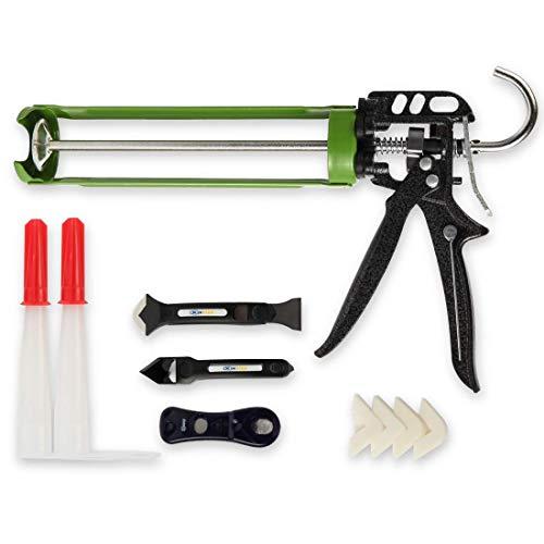 XINQIAO Caulking Gun, 18:1 Thrust Ratio, Steel Durable Drip-Free Smooth and Labor Saving Caulk Gun Kit for 10 oz Silicone Cartridges with 12 Pieces Caulking Tool Kit