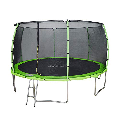 PlayActive 14ft Trampoline With FREE Safety Net Enclosure, Ladder, Rain Cover, Shoe Bag (Green)