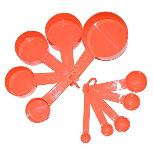 3 Color Plastic Measuring Cups 10pcs/lot Measuring Spoon Kitchen Tools Measuring Set Tools For Baking Coffee Tea,Tangerine