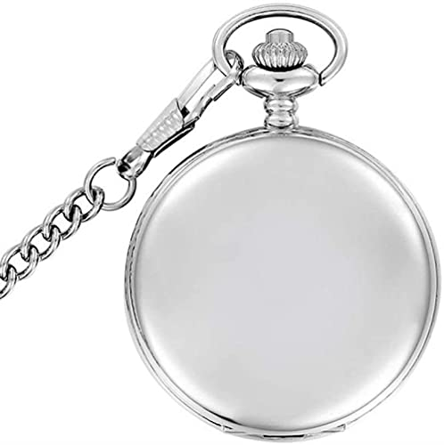 JZDH Reloj de Bolsillo Moda Plata/Bronce/Negro/Oro Polaco Liso de Cuarzo Reloj de Bolsillo joyería aleación Colgante con Collar de Cadena Hombre Mujer Regalo (Color : Silver with Chain)