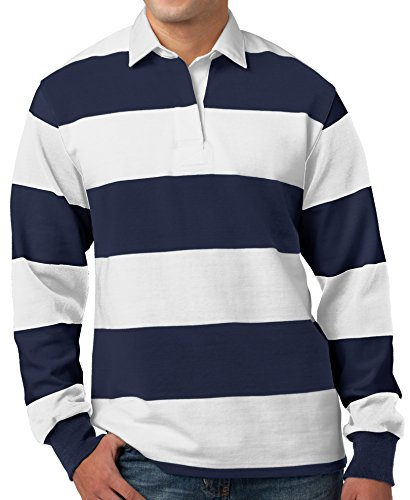 Mens Long Sleeve Rugby Polo Shirt, 4XL True Navy/White