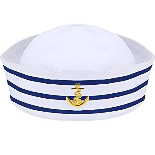 Syhood Sombrero Marinero Sombrero de Capitán de Yate Azul Marino Azul con Blanca Sombrero de Vela para Accesorio de Disfraz (1 Paquete)