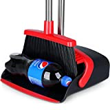 """Large Broom and Dustpan [2021 Upgrade] Dust pan Broom Set with Heavy Duty 55"""" Long Handle Upright Stand Up, 5 Layers Bristles with Angle Edge Broom for Home, Office, Kitchen, Lobby"""