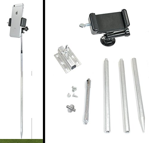 Golf Gadgets - Ground Stake Swing Recording System | Mount Your Smartphone. Great for The Range, or Course. Adjustable Height, or Mount to Objects. (Lg. Ground Stake)