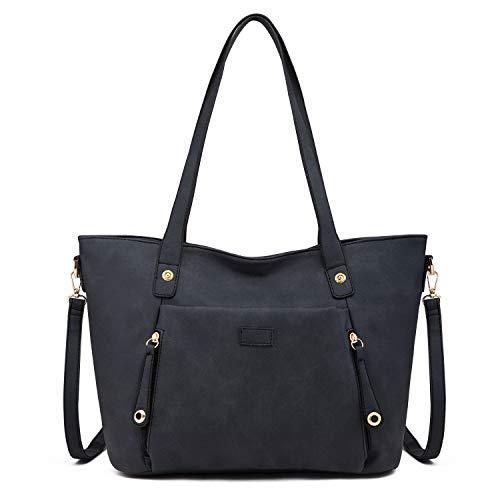 Coolives Damen Tote Shopper Groß Handtasche mit Schultergurt Umhängetasche Schultertasche aus PU-Leder Schwarz EINWEG