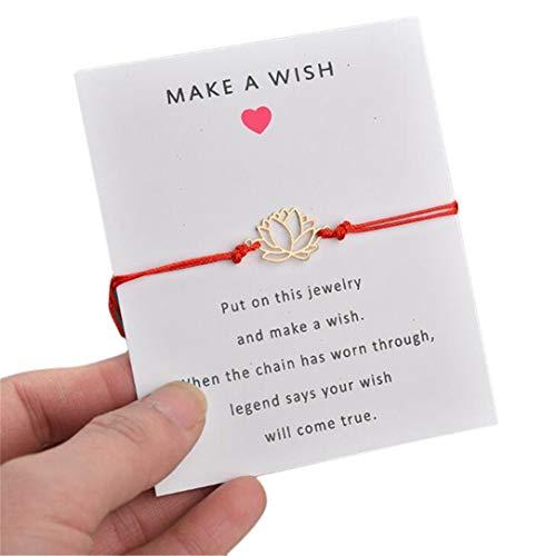 ZSDFW - Pulsera de flores con tarjeta hecha a mano con colgante de loto, pulseras de amistad, pulsera ajustable para mujer, niña, accesorios de regalo, color rojo