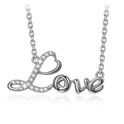 ANGEL NINA Collares Mujer Colgante Mujer Plata de Ley 925 Colgantes Letras LOVE Collar Niña Regalos Originales para Mujer Mamá Dia de la Madre Cumpleaños Aniversario Enamorados