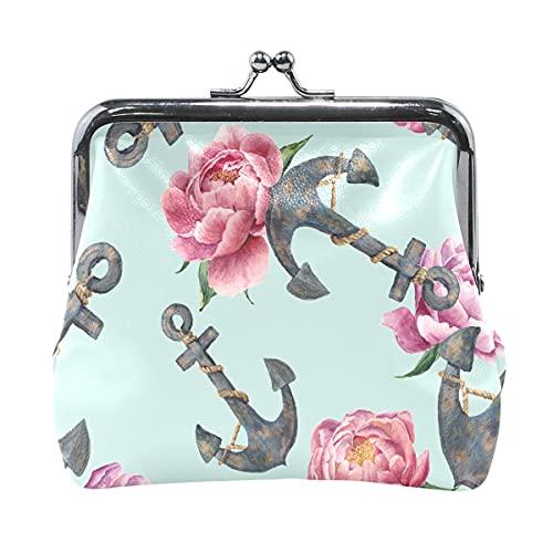Monedero pequeño con flores florales náuticas con ancla para el océano y el mar para mujer con cierre de beso bolsa de cambio para mujeres y niñas de 10 x 10 cm
