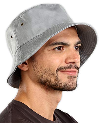 Bucket Sun Hat for Men & Women - UPF 50 UV Protection Packable Summer Fisherman Cap for Fishing, Safari, Beach & Boating Light Gray