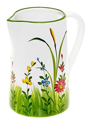 Lashuma Handgemachter Italienischer Keramik Krug Groß, Kanne mit Blumenwiesen Muster, Pitcher mit Henkel Höhe 19 cm, Füllmenge 1,5 l