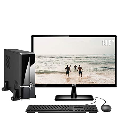 Computador Completo Intel Core i5 8GB HD 1TB Monitor HDMI 19.5' Áudio 5.1 canais PC CPU Windows 10 Quantum Slim Flex, 39827, Preto, Média