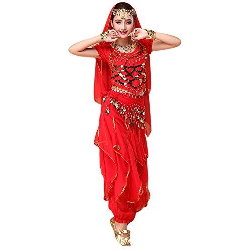 Dxlta 4 Teile/Satz Bauchtanz Kostüm Bollywood Kostüm Indisches Kleid Frauen Tanzen Kostüm Sets Tribal Rock karnevalkostüm