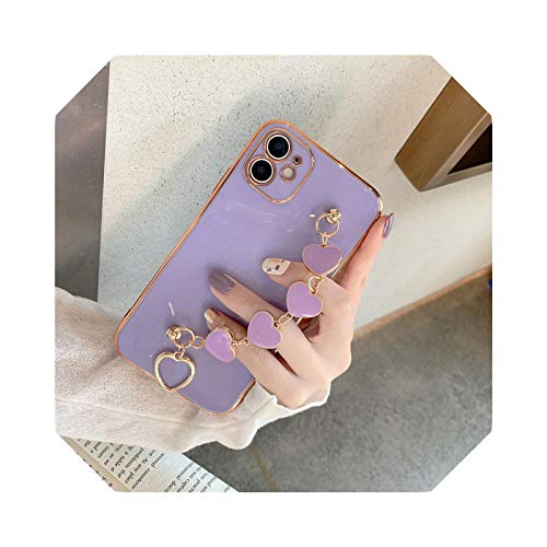 Luxury Plating Love Heart Chain Wrist - Pulsera suave para iPhone 12 Pro Max Mini 11 Pro Max X XS XR 7 8 Plus se 2020 Cover-2-for iPhone XS Max