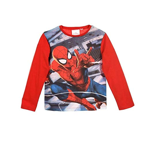 Spiderman Langarmshirt Jungen Marvel Ökotex Standard 100 (Rot; Red, 98)