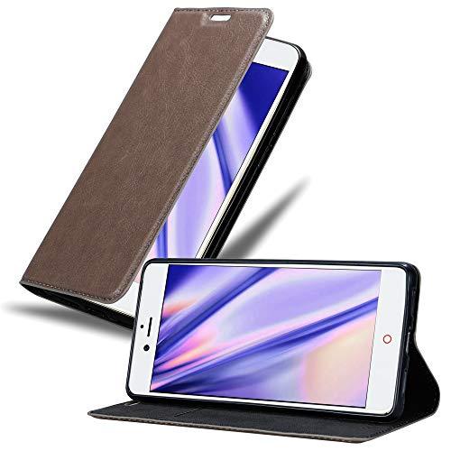 Cadorabo Hülle für ZTE Nubia Z11 in Kaffee BRAUN - Handyhülle mit Magnetverschluss, Standfunktion & Kartenfach - Hülle Cover Schutzhülle Etui Tasche Book Klapp Style