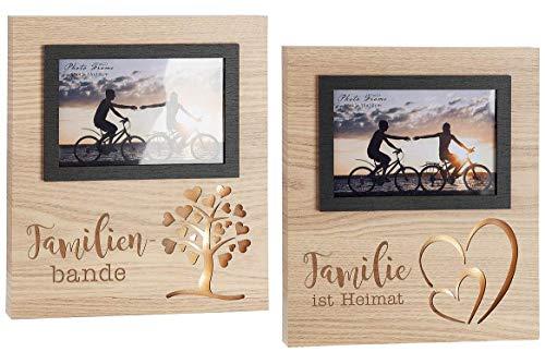 Gilde Casato Marco de fotos LED marrón 25 cm x 21,5 cm x 2,5 cm con frases familiares y familia es Heiimat