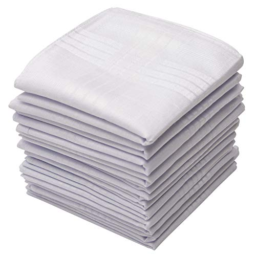 "Perry Ellis 12 Pack Handkerchief (Permanent Press White with Satin Cord, 16"" x 16"")"