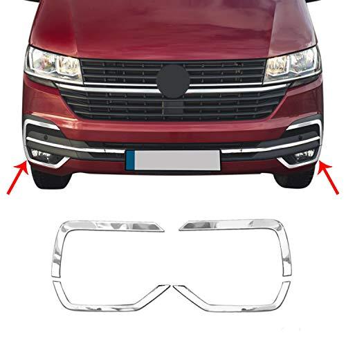 OMAC Tampa de luz de neblina frontal cromada de aço inoxidável | 2 peças de acabamento da moldura da lâmpada circundante | Para Volkswagen Transporter 2019-2020