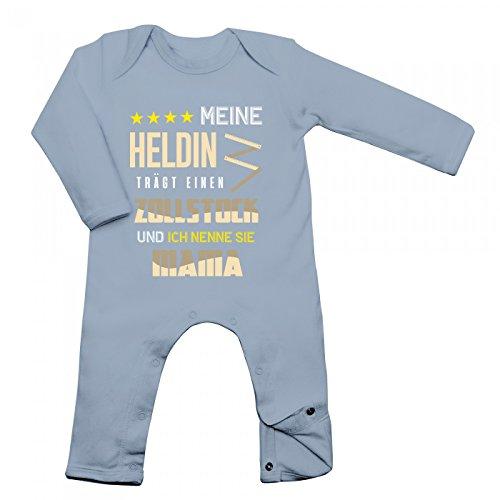 Zollstock Babybody Berufe Follow Your Dreams Traumberuf Langarm Langärmliger Strampler, Farbe:Babyblau (Dusty Blue BZ13);Größe:3-6 Monate