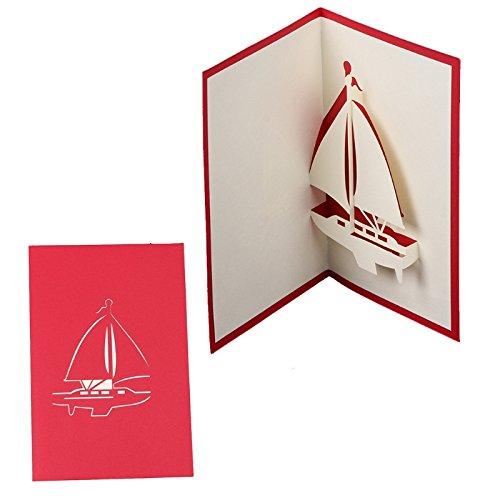 Exing Grußkarten, Karten 3D Pop up, Karten Hochzeit Geburtstag von Weihnachten, Papier handgefertigt, Modell-Segelboot