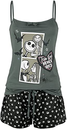 The Nightmare Before Christmas Pesadilla Antes De Navidad Comic Mujer Pijama Negro/Gris XL, 100% algodón,