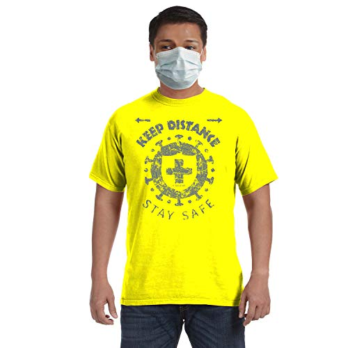 Tees of Art Keep Distance t-Shirt - Front & Back Message (Neon Yellow, Large)