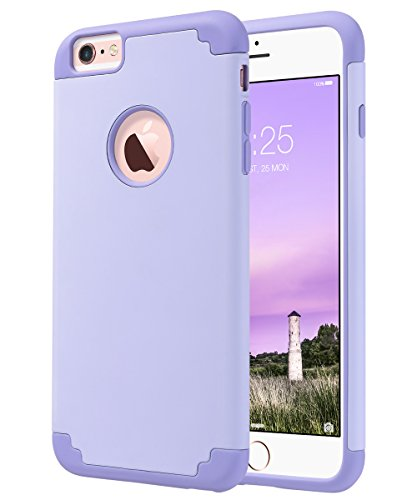 ULAK iPhone 6 Plus Case, iPhone 6S Plus Case,Thin Dual Layer Soft Silicone Skin Hard Back Cover Anti Scratches Bumper Protective Case for Apple iPhone 6 Plus/6S Plus 5.5 inch - Lavender -  ULAKUACC016K017