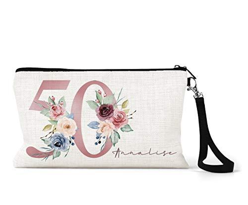 Trousse de maquillage personnalisée en lin crème pour 50e anniversaire Motif floral Rose/bleu