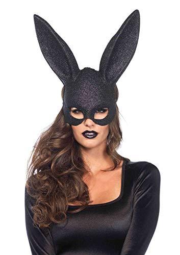Leg Avenue 376022001 3760 - Glitter Maskerade Kaninchen-Maske - Einheitsgröße, schwarz